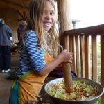A girl preparing a meal