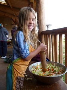 A girl preparing a meal