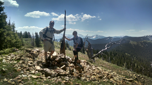 two hikers on flag mountain